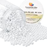 PandaHall Elite 4mm About 1000Pcs Tiny Satin Luster Glass Pearl Round Beads Assortment Lot for Jewelry Making Round Box Kit White