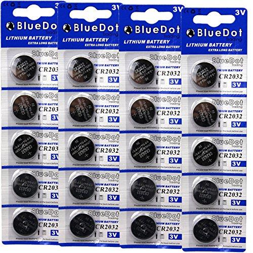 BlueDot Lithium Batteries, 3 Volts, 20 pack CR2032