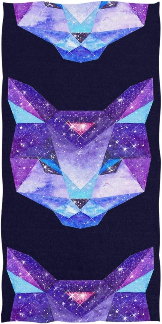 Double Joy Myaterious Galaxy Geometric Cat Soft Cute Travel Camping Swim Sports Bath Yoga Large Beach Towels 74x37 Inch