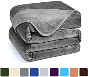 Charm Heart Luxury Fleece Blanket,All Season 350GSM Blankets Super Soft Warm Thick Blanket for Home Bed Blankets Queen Size, Dark Grey 90×90 in