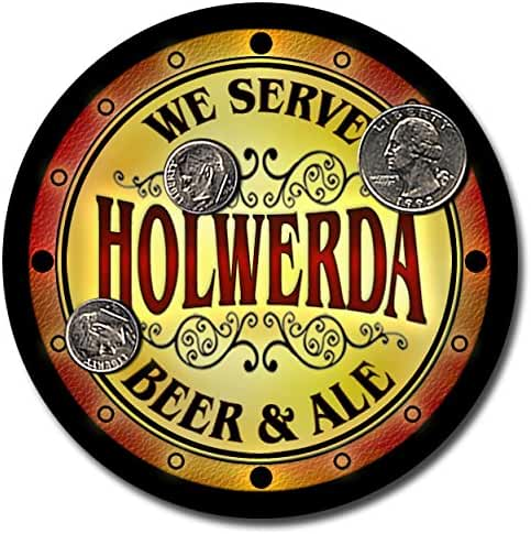 Holwerda Family Name Beer and Ale Rubber Drink Coasters - Set of 4