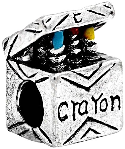 (Buckets of Beads Crayon Box Charm Bead Fits Pandora Troll Biagi Zable, Multicolor)