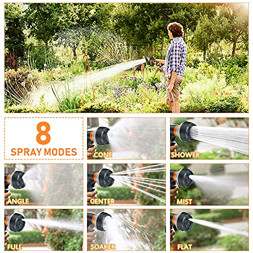 Nasharia Garden Hose Nozzle, Water Hose Nozzle with 8 Adjustable Spray Patterns, Slip and Shock Resistant High Pressure Water Spray Nozzle for Watering Plants Cleaning Car Wash and Showering Pets