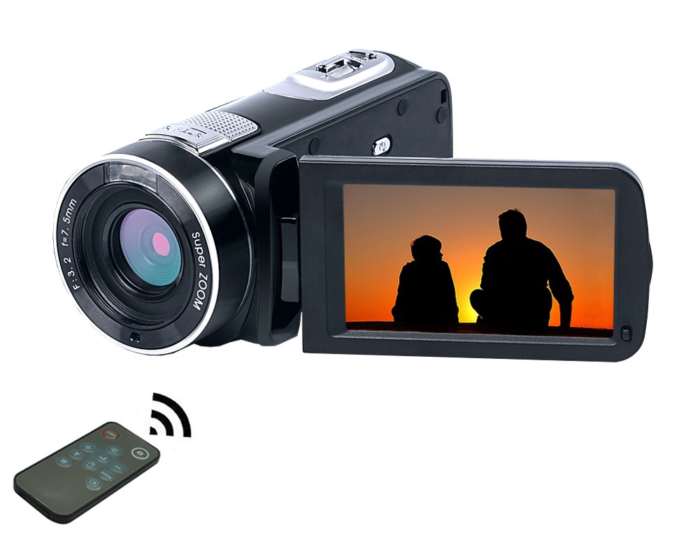 "SEREE Video Camera Camcorder Full HD 1080p Digital Camera 24.0MP 18x Digital Zoom 3.0"" LCD 270° Rotation Screen with Remote Control"