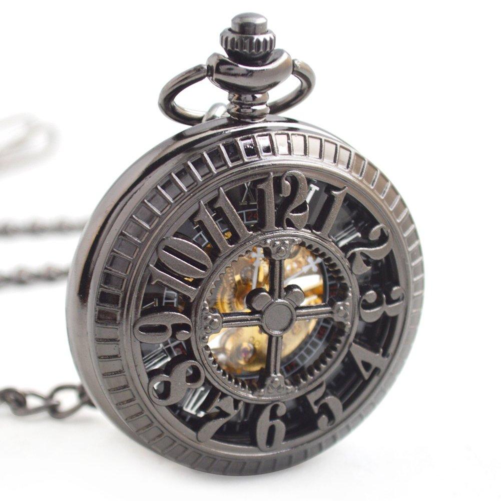 Retro Gun Hollow Skeleton Reloj De Bolsillo Mecánico Automático Unisex Chain Watch Flip Cover: Amazon.es: Hogar