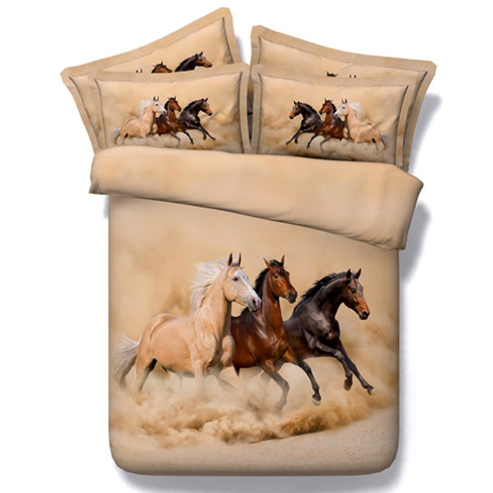 Alicemall Horse Bedding Three Running Horses Printing Brown 4-Piece Duvet Cover Set, Twin/ Full/ Queen/ King US Size (Twin, Brown)