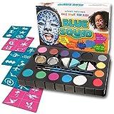 Face Paint Kit for Kids - Best Quality Face Paint Party Supplies - Safe Facepainting for Sensitive Skin - 14 Vibrant Facepaints - FREE STENCILS & SPONGES - Professional Halloween Costume Makeup Paints