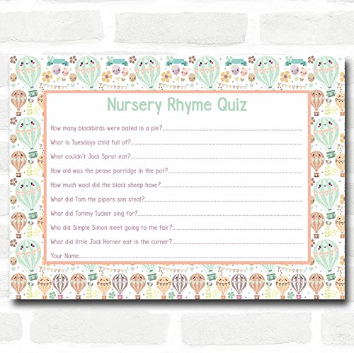 Neutral Hot Air Balloons Baby Shower Games Nursery Rhyme Quiz Cards ()