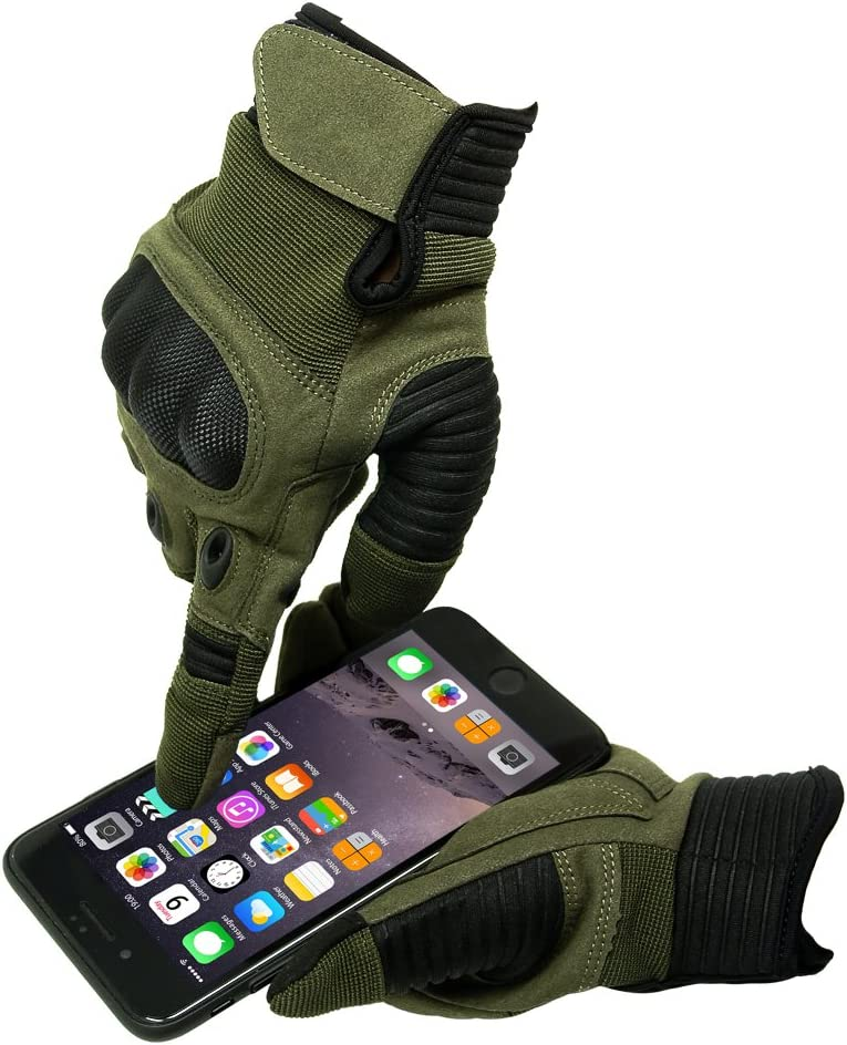 APPHOME Touch Screen Full Finger Gloves Outdoor Protective Gloves Camping Gloves Work Anti-wear Gloves ArmyGreen