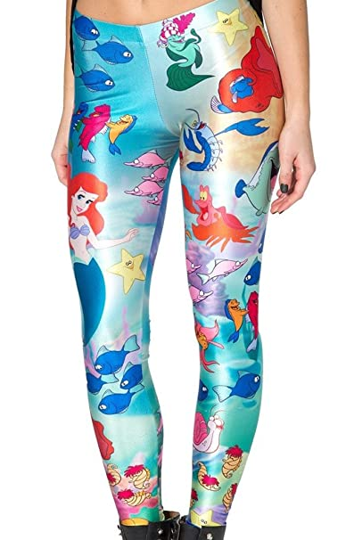 e00c434f57c169 Amazon.com: Disney Little Mermaid Polyester/Spandex Womens Leggings ...