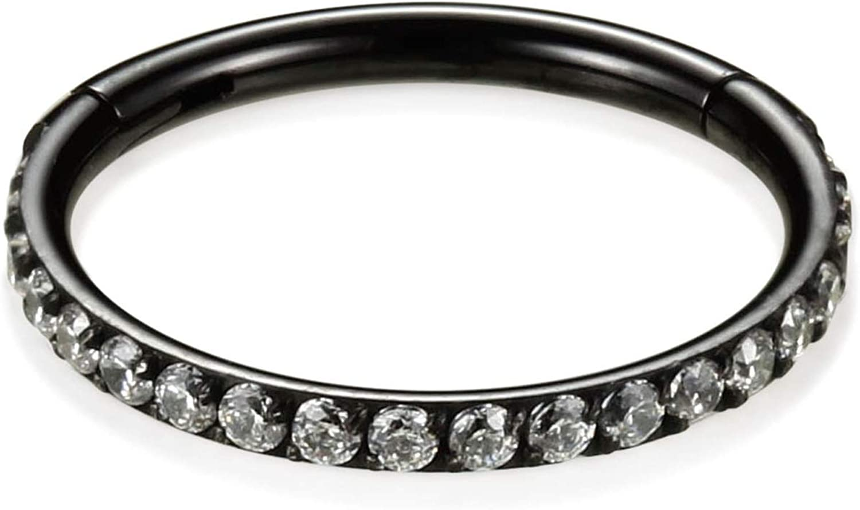 PEAKLINK 16G Stainless Steel Seamless Hinged Segment Clicker Ring Septum Nose Ring Piercing 6/8/10/12mm