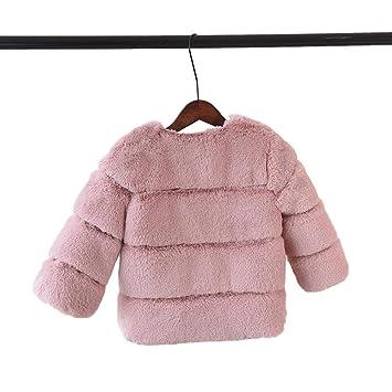 Abrigos de piel sintética para bebés y niñas, chaqueta cálida para niños, otoño e invierno rosa rosa Talla:110 cm