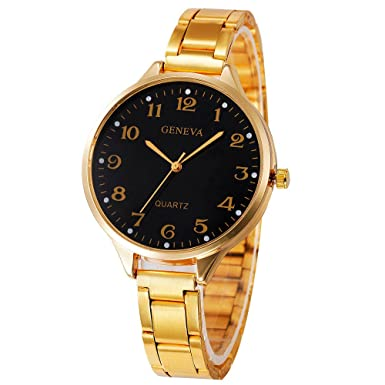 Darringls_Reloj Geneva,Relojes Deportivos Reloj de Pulsera de Cuarzo Moda para Mujeres y Hombres de Negocios Casuales analógico de Acero Inoxidable ...