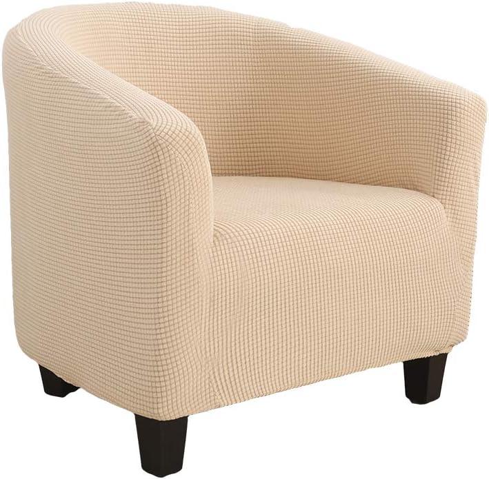 Snewvie Funda de Sillón Tub Chair Elástica Jacquard de Poliéster y Moderna Cubre Sofa Funda de Sofá Individual Sofá Sala de Estar