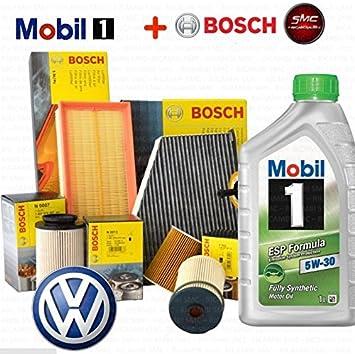Kit Tagliando 4 filtros Bosch + 5lt Aceite Mobil 1 ESP 5 W30 Motores AHF ASV/AJM auy ASz/ARL: Amazon.es: Coche y moto