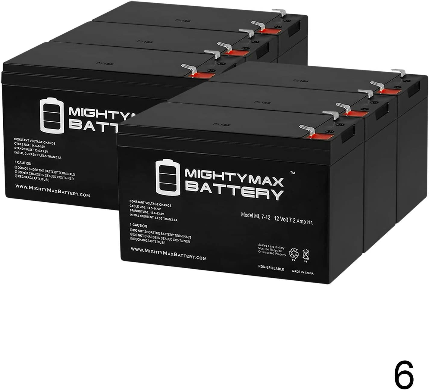 6 Pack Brand Product Mighty Max Battery 12V 7.2AH Battery for Pinnacle Plus 2000T UPS System