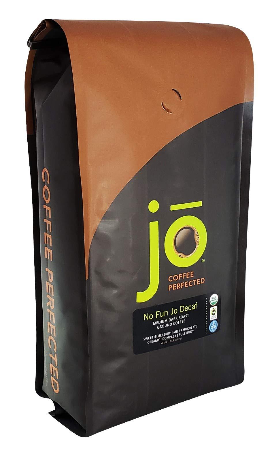 NO FUN JO DECAF: 2 lb, Organic Decaf Ground Coffee, Swiss Water Process, Fair Trade Certified, Medium Dark Roast, USDA Certified Organic, NON-GMO, Chemical Free, Gluten Free Arabica Coffee