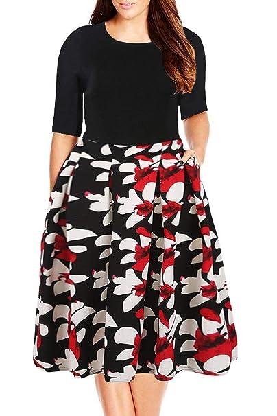 860e3f3c75cd1 Nemidor Women's Floral Print Vintage Style Plus Size Swing Casual Dress  (14, Black+