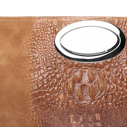 CASPAR Cognac Womens Clutch Suede TL692 Womens Print CASPAR Croc T48qxxCdw
