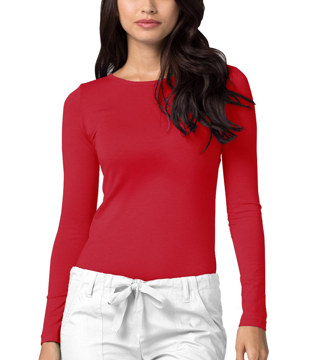 Adar Womens Comfort Long Sleeve T-Shirt Underscrub Tee - 2900 - Red - S