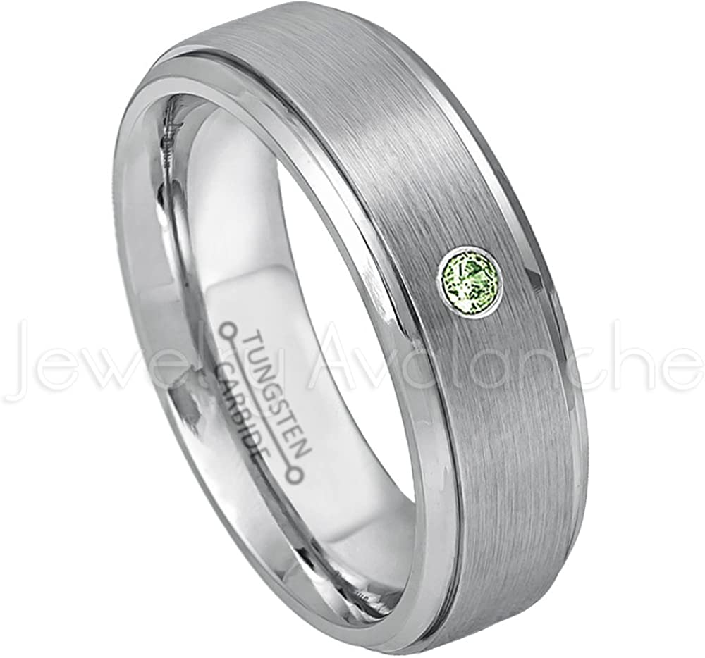 0.07ct Green Tourmaline Solitaire Ring 6mm Brushed Tungsten Wedding Band October Birthstone Ring