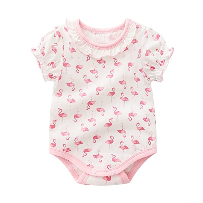 Amazon.com: famuka bebé niñas Pelele de verano rosa patrón ...