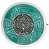 Sterling Silver Aztec Calendar Mandala Brooch Pin Pendant w/ Green Enamel Background, 1 1/2 inch