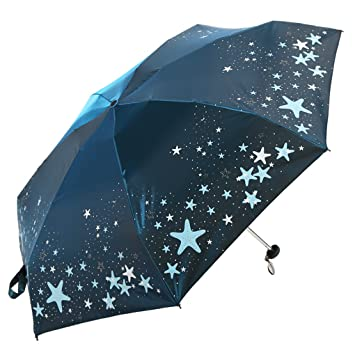 Anyer Mini Paraguas Ultraligero Paraguas De Cinco Pliegues Paraguas De Bolsillo Mujer Protección Solar Rayos UV