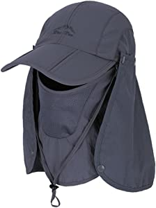 Fishing Hat Sun Cap for Gardening, Mountaineering, Camping, Boating, Outdoor Sports, UPF 50+ Protection Quick-Drying with Removable Neck Flap & Face Cover Mask, Unisex