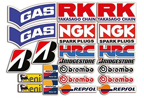 Set de 22 pegatinas para moto de patrocinadores para SBK, Honda, Yamaha, Ducati, Suzuki, BMW o Aprilia GamesMonkey