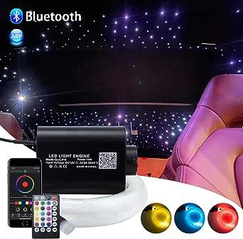Kit de techo de iluminación de fibra óptica con sensor de sonido para coche, 16 W, Motor de luz: aluminio. Cable de fibra óptica: plástico., 295pcs*(0.03in+0.04in+0.06in)*9.8ft: Amazon.es: Coche y moto