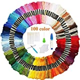 Volsteel Embroidery Floss 100 Skeins Premium Multi-Color Craft Floss for Friendship Bracelets, Cross Stitch Floss Sewing Threads with Free Embroidery Tool