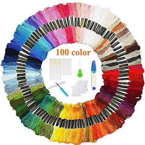Volsteel Embroidery Floss 100 Skeins Premium Multi-Color Craft Floss for Friendship Bracelets, Cross Stitch Floss Sewing Threads with Free Embroidery Tool by Volsteel