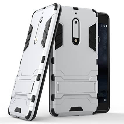 reputable site a572b d27c1 Case for Nokia 5 (5.2 inch) 2 in 1 Shockproof with Kickstand Feature Hybrid  Dual Layer Armor Defender Protective Cover (Silver)