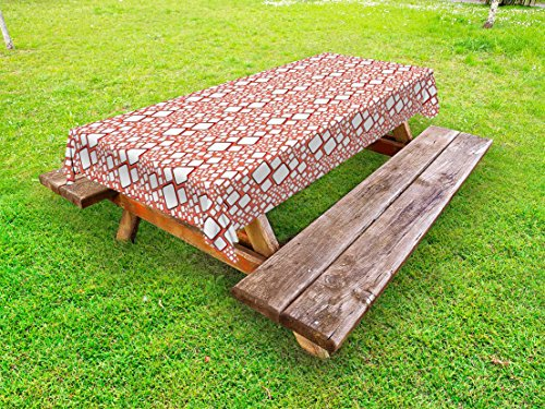 Ambesonne Abstract Outdoor Tablecloth, Ornamental Squares with Oval Corners in Various Shapes Geometric Pattern, Decorative Washable Picnic Table Cloth, 58 X 84 Inches, Dark Salmon White