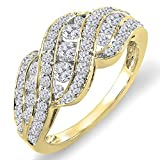 1.00 Carat (ctw) 14K Yellow Gold Round Diamond Ladies Cocktail Right Hand Ring 1 CT (Size 6.5)