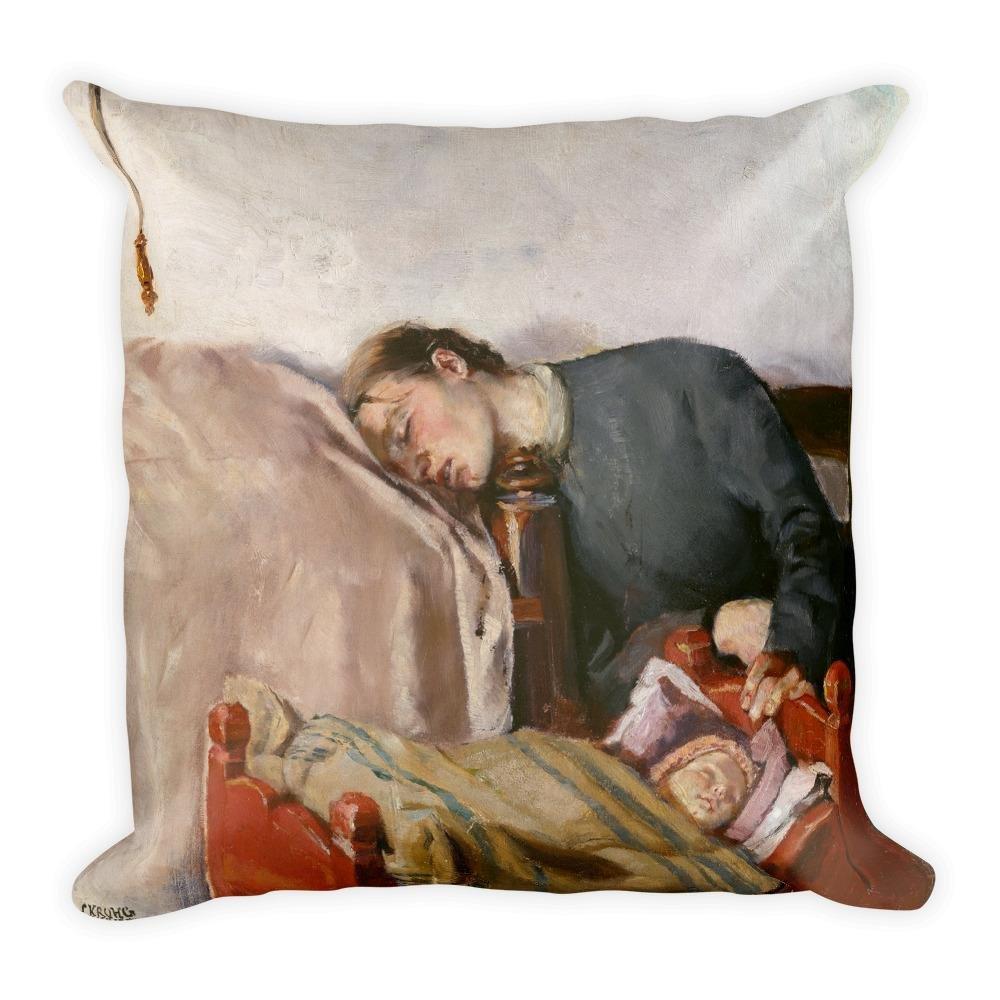 J and P Enterprises Mother's Day Art Print Reproduction Pillow by Christian Krohg, Vintage Art Print Pillow, Square Pillow