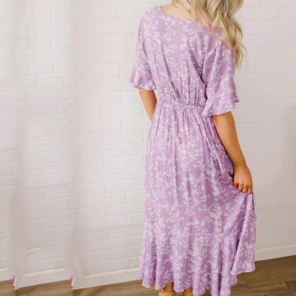 Women's Purple Flare Ruffle Short Sleeve High Split Irregular Hem V Neck Maxi Dress by ★ZFK_DRESS (Image #5)