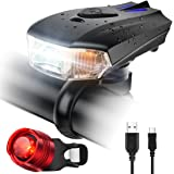 ZOKER USB Rechargeable Smart Bike Light Set Super Bright 400 Lumens Bicycle Headlight and FREE Bike Tail Light, Waterproof and Easy to Install - Cycling Safety For Mountain Road, Kids and City Bicycle