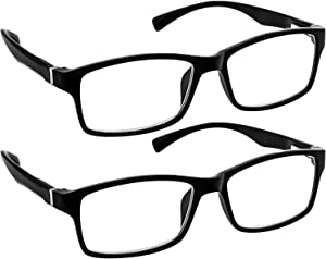 Computer Reading Glasses 1.25 Black 2 Pack Protect Your Eyes Against Eye Strain, Fatigue and Dry Eyes from Digital Gear with Anti Blue Light, Anti UV, Anti Glare, and are Anti Reflective