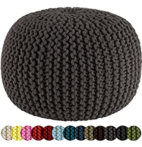 Cotton Craft - Hand Knitted Cable Style Dori Pouf - Grey - Floor Ottoman - 100% Cotton Braid Cord - Handmade & Hand stitched - Truly one of a kind seating - 20 Dia x 14 High