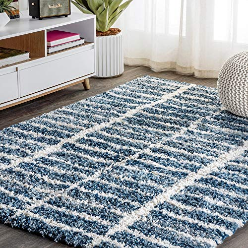 1 Piece 3' X 5' Rectangle Transitional Geometric Pattern Shag Area Rug, Glam Stacked Grid Designs Polypropylene Fibers High Pile Soft Area Rug, Accent Indoor Colorful Ivory Indigo Blue Area Rug