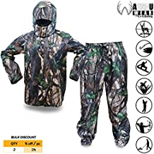 KwikSafety HUNTSMAN | Camouflage Hunting Rain Suit Set | All Year Outdoor Recreational Wear | Waterproof Windproof Quick Dry Long Sleeve Hood Zip Up and Bottoms | Fishing Shooting Camo Gear | Small