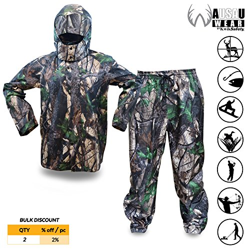 (KwikSafety (Charlotte, NC Huntsman Camouflage Hunting RAIN Suit | All Year Outdoor Recreational Wear Waterproof Windproof Quick Dry Long Sleeve Hood Zip Up Bottom Fishing Shooting Camo Gear | Small)