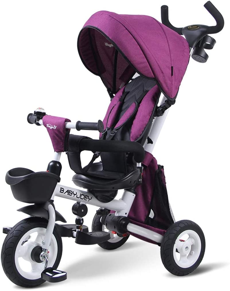 Xhhxiao Al Doblar la Bicicleta de Tres Ruedas de un niño, al Cochecito de bebé de 1-3-5 años, el Asiento Gira for reclinarse, y la guía Interna es Anti-pellizco. ( Color : Purple , Size : 73cmx61cm )