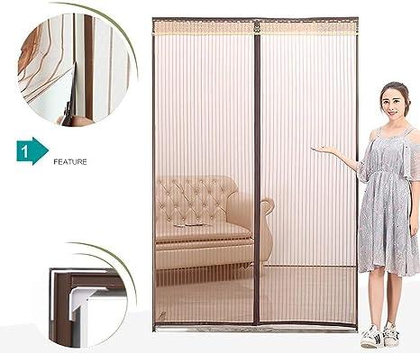 AerthD Cortina de Malla magnética autoadhesiva para encriptación, Puerta de mosquitero magnética para Trabajo Pesado, Tamaño Ajustable Fácil de Desmontar (Color : Marrón): Amazon.es: Hogar