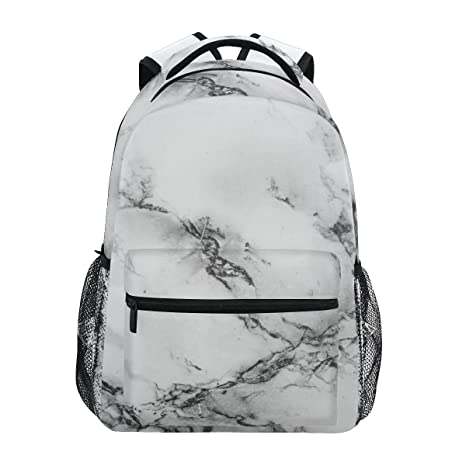 1fb1612c324 Amazon.com: ZZKKO Black and White Marble Art Boys Girls School Computer Backpacks  Book Bag Travel Hiking Camping Daypack: Computers & Accessories