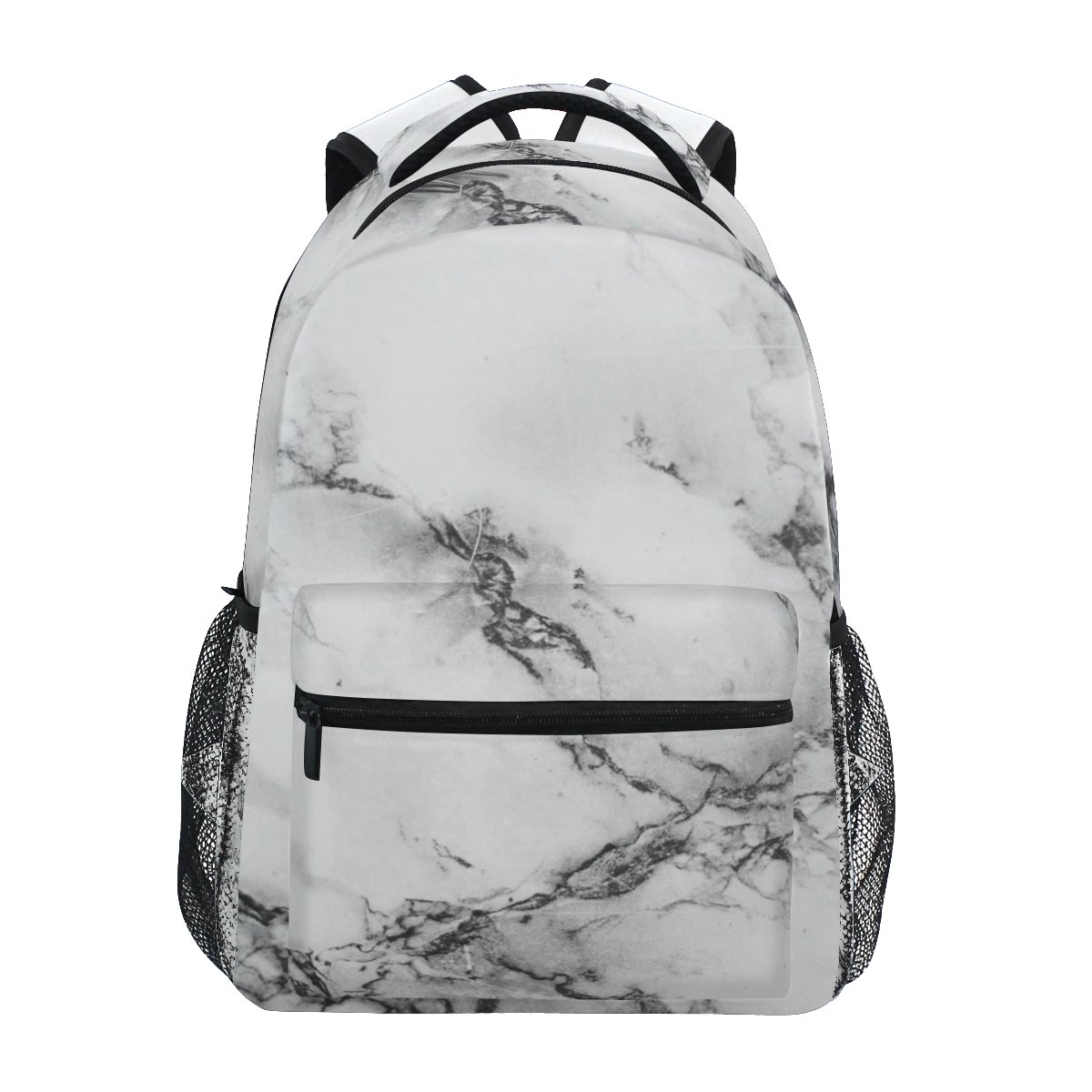 ZZKKO Black and White Marble Art Backpacks College School Book Bag Travel Hiking Camping Daypack