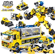 PANLOS STEM Robot Educational Learning Building Bricks Toy Carrier Truck Set Vehicles Gifts for Kids Boys and