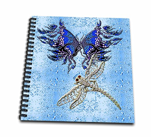 3dRose db_55916_2 Beaded Look Butterfly and Jeweled Dragon Fly Art-Memory Book, 12 by 12-Inch